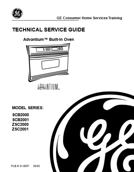 GE Adventium Built-in Oven SCB2000-ZSC2001 Service Manual