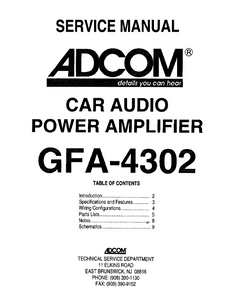 ADCOM Car Audio GFA-4302 Service Manual