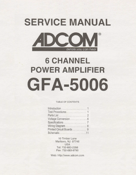 ADCOM GFA-5006 6Channel Power Amp Service Manual