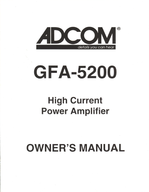 ADCOM GFA-5200 Power Amp Owner's Manual