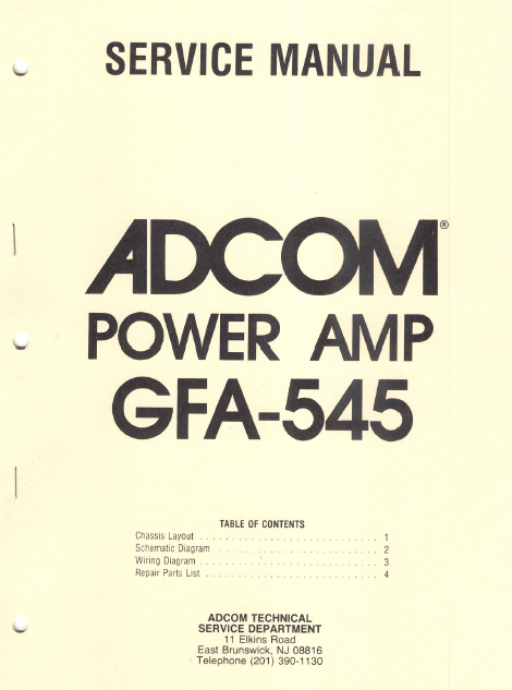 ADCOM GFA-545 Power Amp Schematics