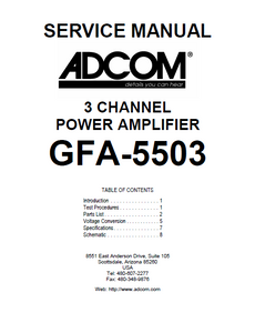 ADCOM GFA-5503 3Channel Power Amp Service Manual