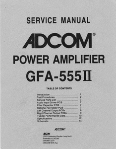 ADCOM GFA-555II Power Amplifier Service Manual