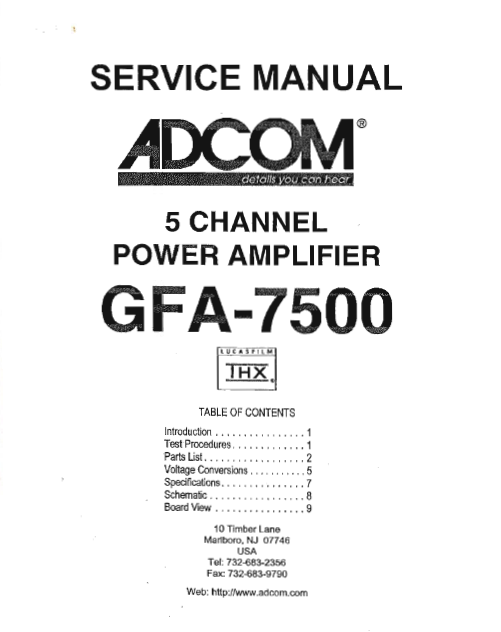 ADCOM GFA-7500 5 Channels Power Amp Service Manual