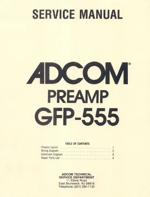 ADCOM PreAmp GFP-555 Schematics