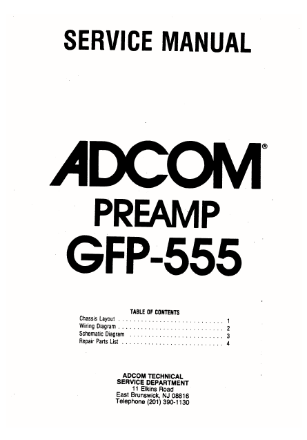 ADCOM GFP 555 PreAmp Schematics