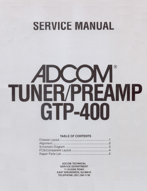 ADCOM GTP-400 Tuner PreAmp Service Manual