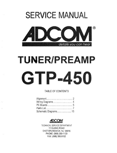 ADCOM GTP-450 Tuner PreAmp Service Manual