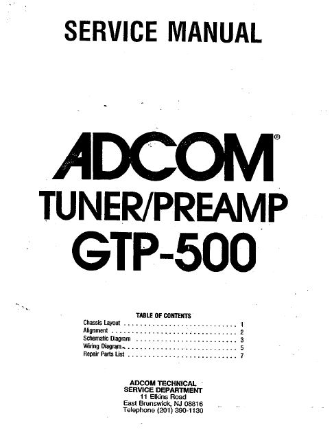 ADCOM GTP-500 Tuner PreAmp Service Manual