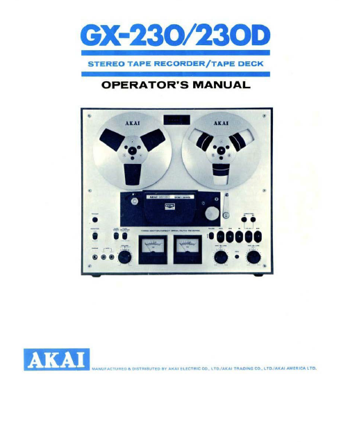 AKAI GX-230D Stereo Tape Recorder Deck Operator's Manual