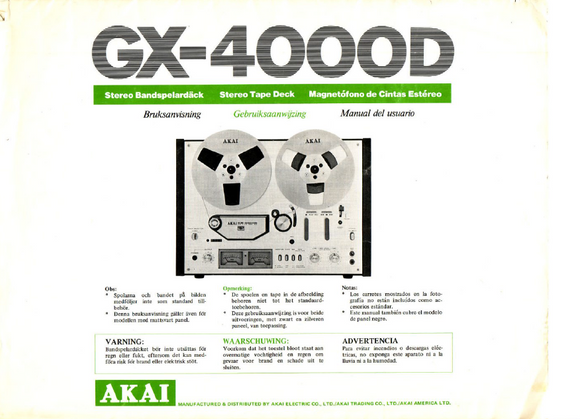 AKAI GX-4000D User's Manual