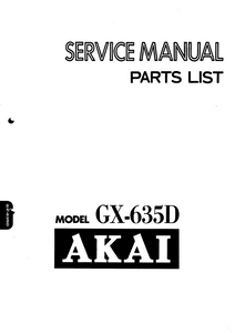 AKAI GX-635D Stereo Tape Deck Service Manual