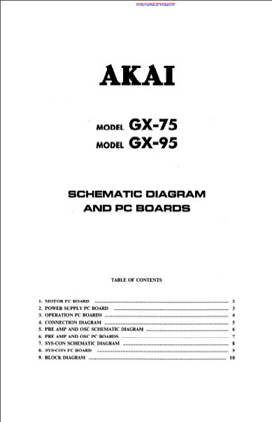 AKAI GX 75-95 PC Boards Schematics
