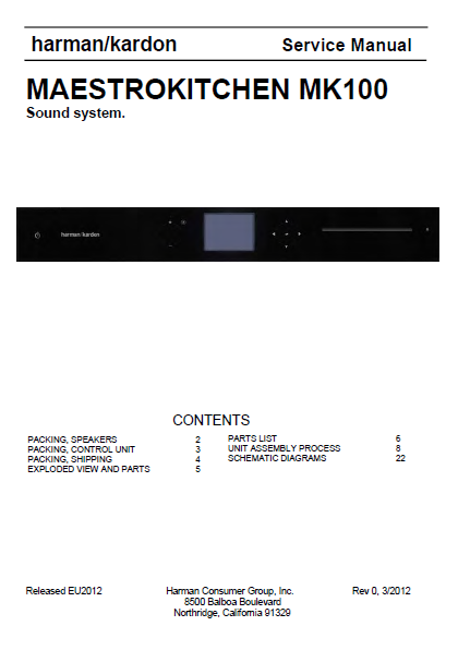 Harman Kardon MAESTROKITCHEN MK100 Service Manual