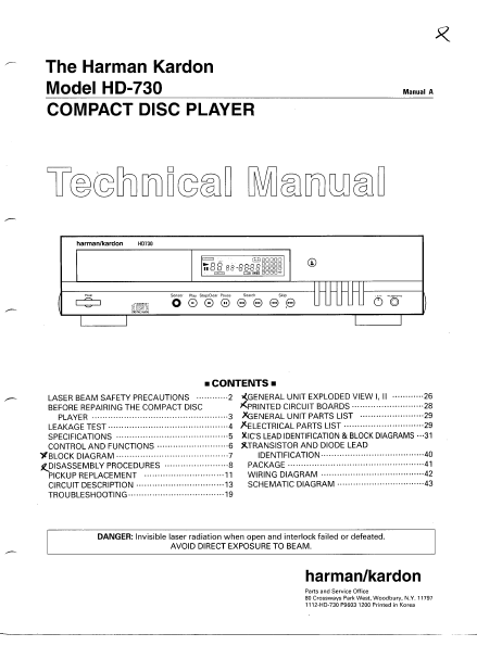 Harman Kardon Model HD-730 Compact Disc Player Technical Service Manual