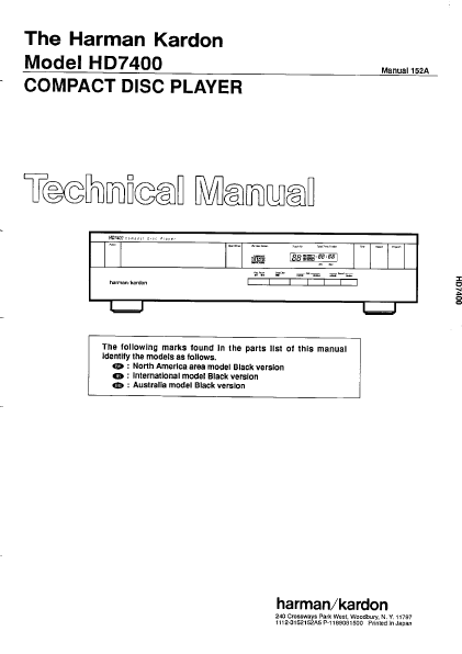 Harman Kardon Model HD7400 Compact Disc Player Technical Service Manual