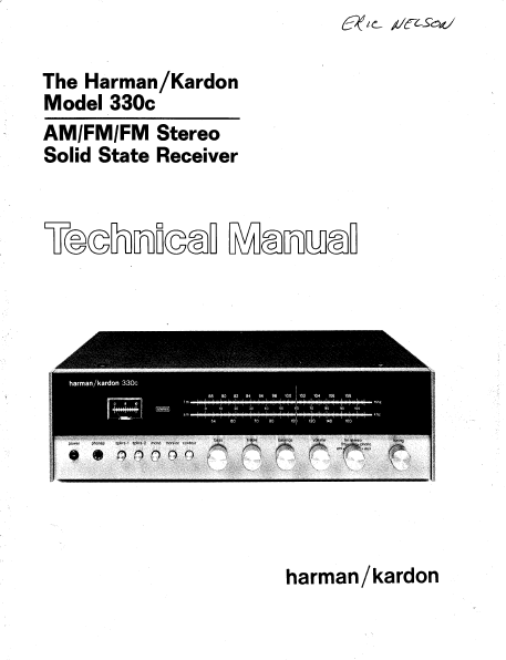 Harman Kardon Model 330c Stereo Solid State Receiver Technical Service Manual