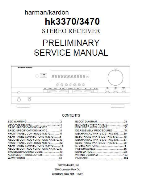 Harman Kardon Model hk3370-3470 Stereo Receiver Preliminary Service Manual