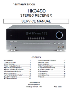 Harman Kardon HK3480 Stereo Receiver Service Manual