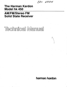 Harman Kardon Model hk 450 Stereo FM Solid State Receiver Technical Service Manual
