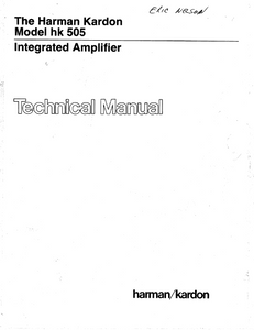 Harman Kardon hk 505 Integrated Amplifier Technical Service Manual