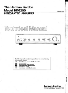 Harman Kardon Model HK6200 Integrated Amplifier Technical Service Manual