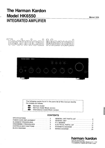 Harman Kardon Model HK6550 Integrated Amplifier Technical Service Manual