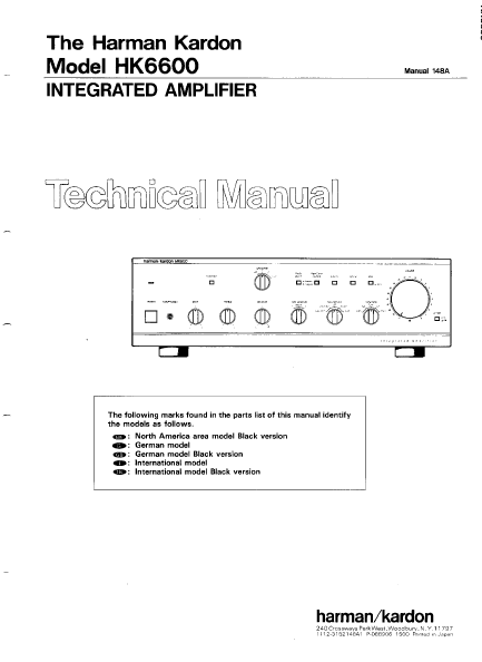 Harman Kardon Model HK6600 Integrated Amplifier Technical Service Manual