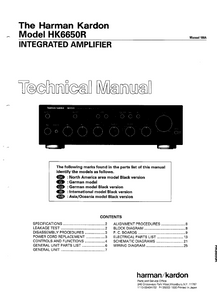 Harman Kardon Model HK6650R Integrated Amplifier Technical Service Manual