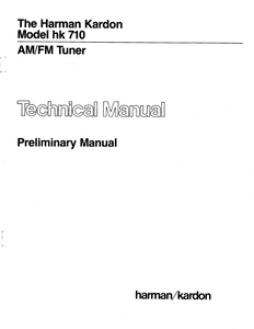 Harman Kardon hk 710 AM FM Tuner Preliminary Technical Service Manual