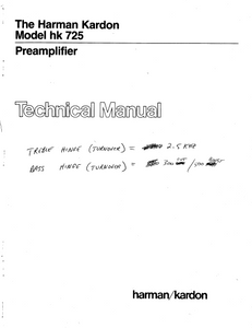 Harman Kardon hk725 Preamplifier Technical Service Manual