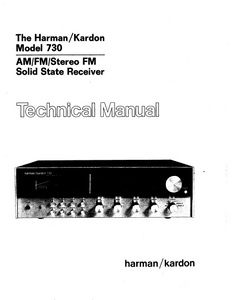 Harman Kardon Model 730 Stereo FM Solid State Receiver Technical Service Manual
