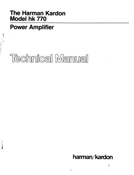 Harman Kardon Model hk 770 Power Amplifier Technical Service Manual