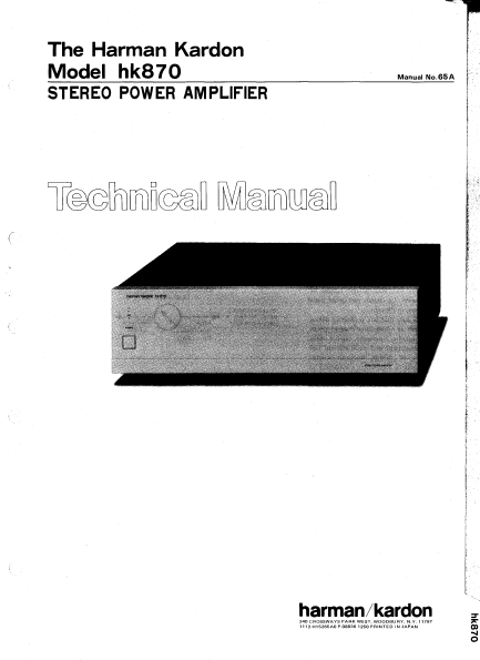 Harman Kardon Model hk870 Stereo Power Amplifier Technical Service Manual