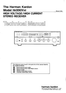Harman Kardon hk990Vxi High Voltage/High Current Stereo Receiver Technical Service Manual