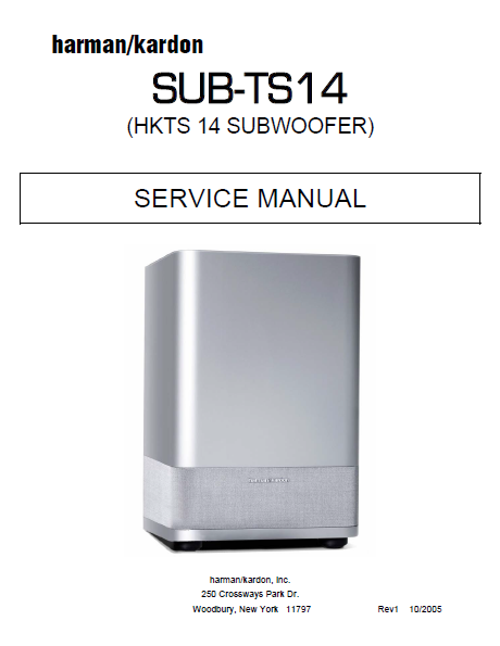 Harman Kardon SUB-TS14 Subwoofer Service Manual