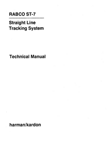 Harman Kardon RABCO ST-7 Straigh Line Traking System Technical Service Manual