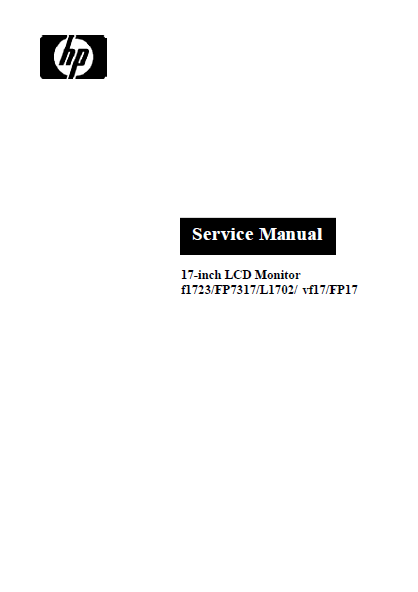 Hewlett Packard FP7317 LCD Monitor Service Manual