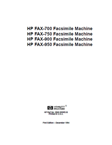 Hewlett Packard FAX-700 Facsimile Machine Service Manual
