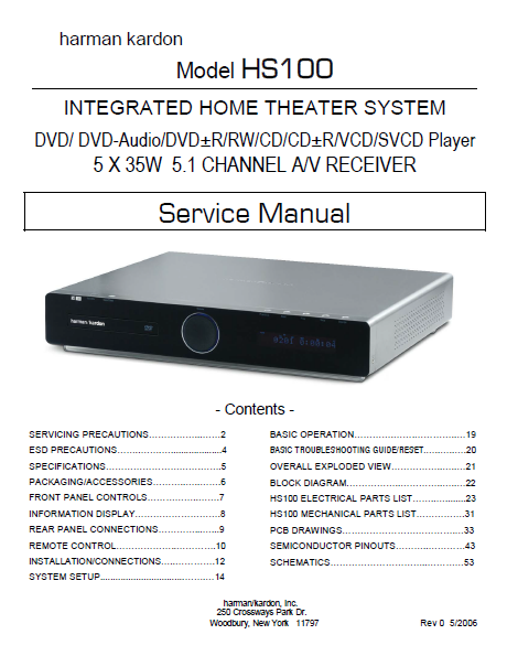 Harman Kardon Model HS100 Integrated Home Theater System Service Manual