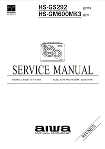 AIWA HS-GS292 Y1B Stereo Cassette Player Service Manual