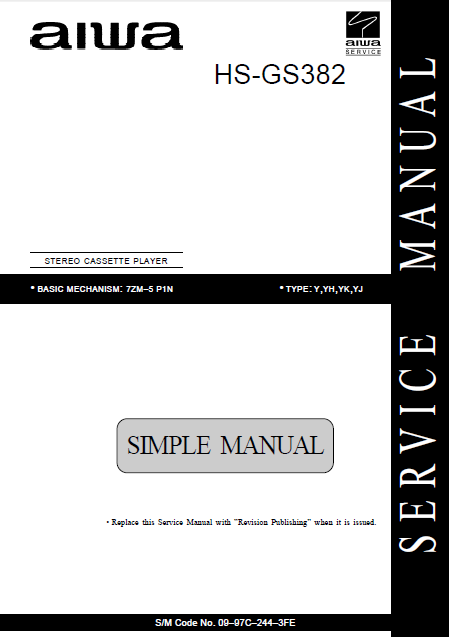 AIWA HS-GS382 Stereo Cassette Player Service Manual