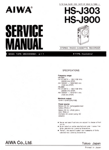 AIWA HS-J303 Stereo Radio Cassette Recorder Service Manual