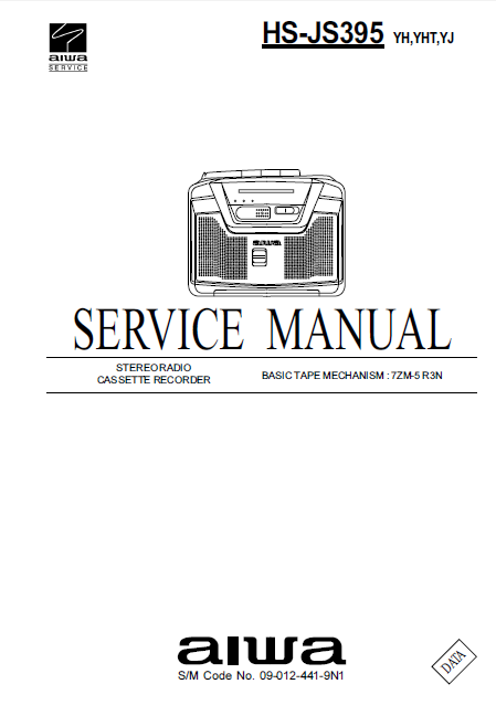 AIWA HS-JS395 Stereo Radio Cassette Recorder Service Manual