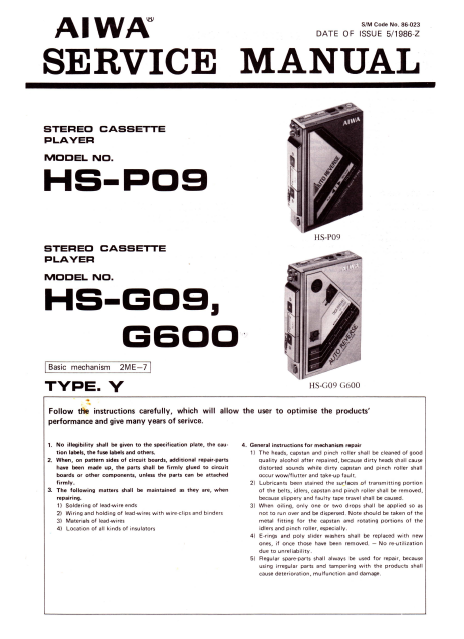 AIWA HS-P09 Stereo Cassette Player Service Manual