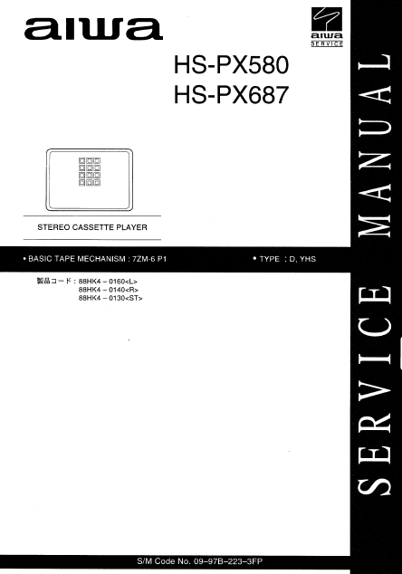 AIWA HS-PX580 Stereo Cassette Player Service Manual