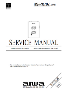 AIWA HS-PX707 Revision Stereo Cassette Player Service Manual