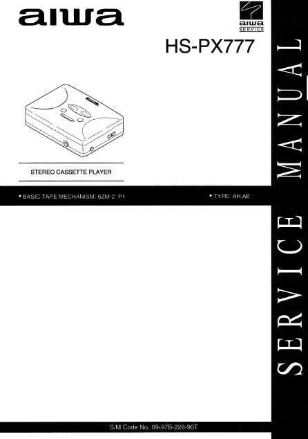 AIWA HS-PX777 Stereo Cassette Player Service Manual