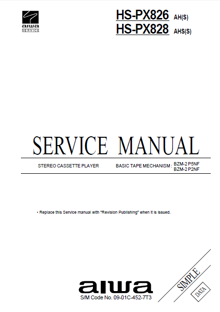 AIWA HS-PX826 Simple Stereo Cassette Player Service Manual
