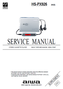 AIWA HS-PX827 Supplement Stereo Cassette Player Service Manual